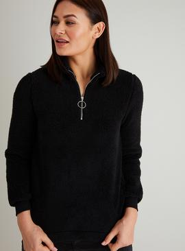Black Half Zip Teddy Fleece