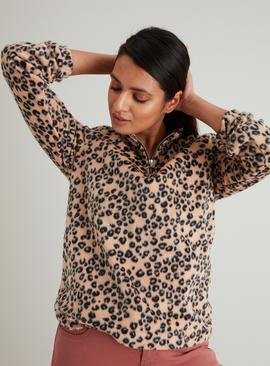 Leopard Print Half Zip Fleece