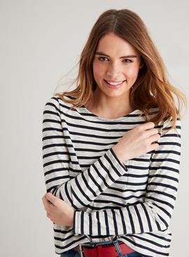 Navy Stripe Neppy Pocket Long Sleeve T-Shirt