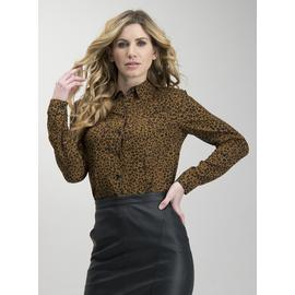 Brown Leopard Print Western Shirt