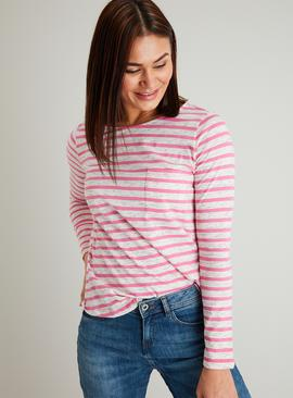 Pink Stripe Neppy Pocket Long Sleeve T-Shirt