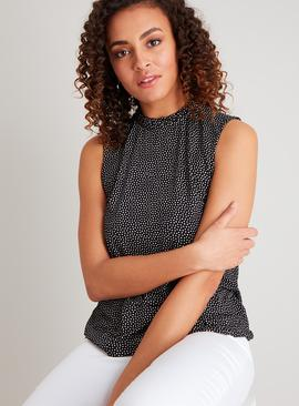 Monochrome Spotted Ruffle Neck Sleeveless Top