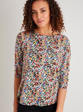 Floral Print Patch Pocket Slouch Top