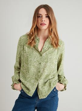 Green Leopard Print Long Sleeve Blouse
