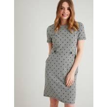 Monochrome Check & Spot Tab Waist Shift Dress