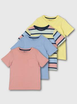 Yellow, Pink & Blue Pastel T-Shirt 4 Pack