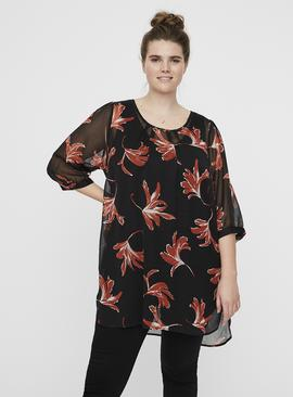JUNAROSE Black & Orange Floral Print Sheer Tunic