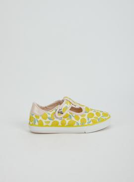 Lemon Print Canvas Mary Janes