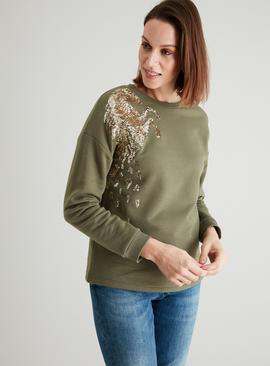 Khaki & Gold Sequin Horse Sweatshirt
