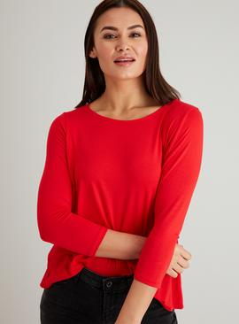 Red Wide Neck Top