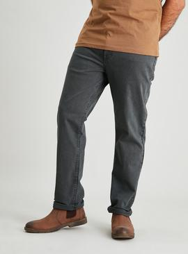 Grey Straight Leg Denim Jeans With Stretch