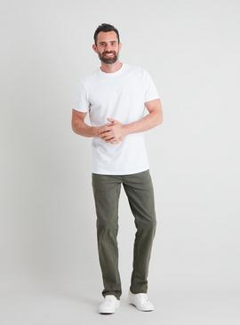 Khaki Straight Leg Jeans With Stretch