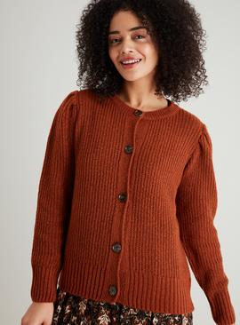Brown Ribbed Chunky Cardigan