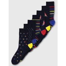 Navy Portland Flag Print Stay Fresh Socks 7 Pack