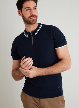 Navy Tipped Half Zip Knitted Polo Shirt