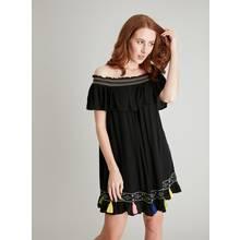 Black Tassel Hem Cover Up Dress
