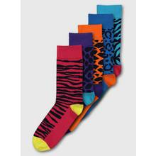 Multicoloured Animal Bright Trouser Socks 5 Pack