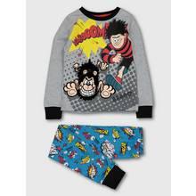 Beano Dennis and Gnasher Grey & Turquoise Pyjamas