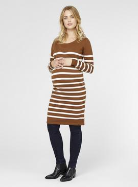 Brown Striped Knitted Maternity Dress