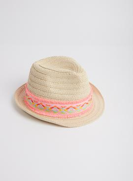 Cream Neon Trilby Flower Detail Hat
