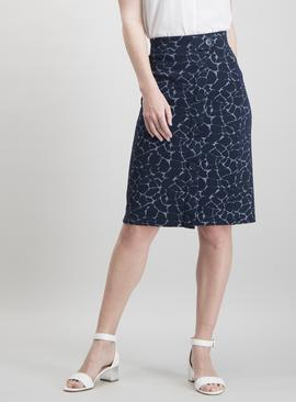 Navy Giraffe Print Pull On Skirt