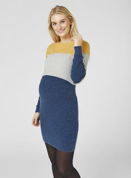 Grey, Yellow & Blue Colour Block Dress
