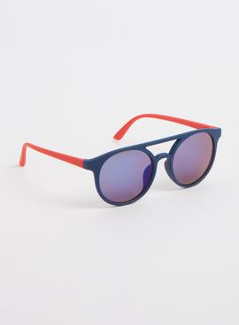 Navy & Red Circular Aviator Sunglasses