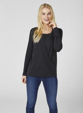 Black Jersey Long Sleeve Nursing Top