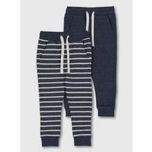 Blue Stripe & Marl Joggers 2 Pack