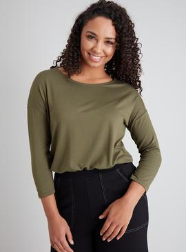 Khaki Slouchy Crew Neck Top