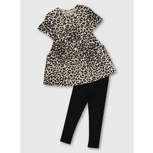 Leopard Print Dress With Leggings Set