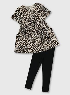 Leopard Print Dress With Leggings Set
