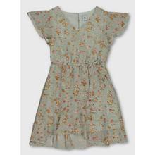Sage Green Floral Print Georgette Dress