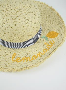 Cream 'Lemonade' Floppy Hat - 10-13 years