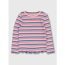 Neon Pink Stripe Ribbed Long Sleeve Top