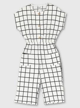 White Window Pane Print Crepe Jumpsuit