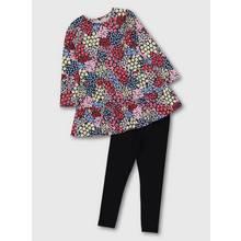 Multicoloured Floral Print Dress & Leggings