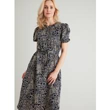 Navy Printed Satin Midi Dress