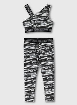 Monochrome Crop Top & Leggings Dance Set