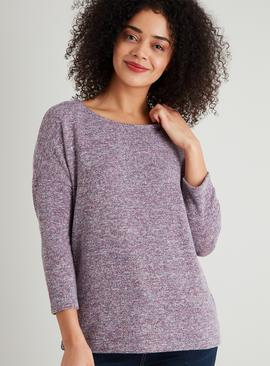 Purple Marl Space Dye Knitlook Top