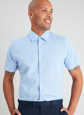 Blue Regular Fit Short Sleeve Shirts 2 Pack