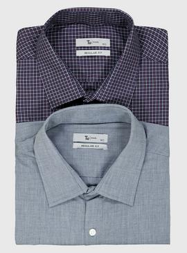Check & Chambray Regular Fit Shirt 2 Pack