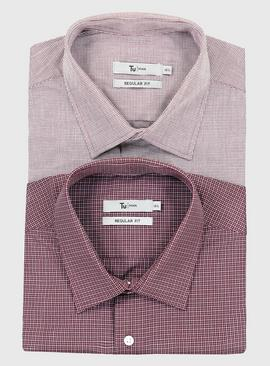Burgundy Check Regular Fit Easy Iron Shirt 2 Pack