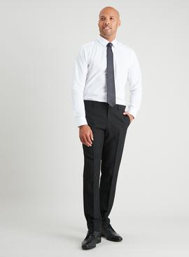 White Regular Fit Shirt & Black Tie Set