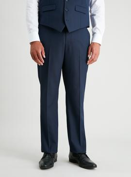 Navy Textured Regular Fit Suit Trousers