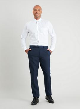 Navy Textured Slim Fit Suit Trousers