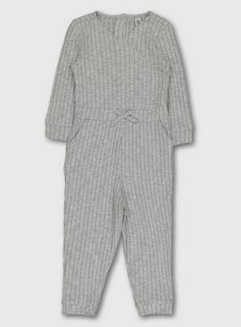 Grey Ribbed Soft Knit Jumpsuit