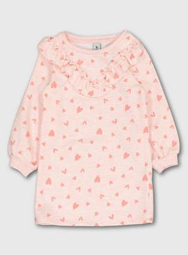 Pink Heart Print Sweatshirt Dress