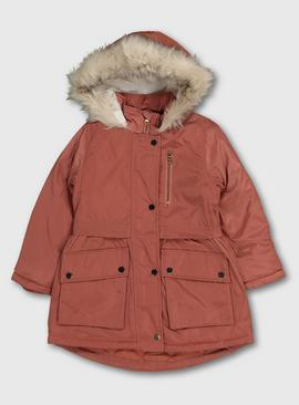 Pink Fashion Parka Coat With Hood