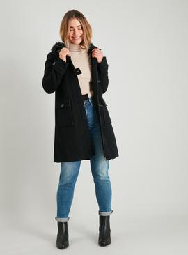 Black Faux Fur Hooded Duffle Coat